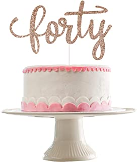 Rose Gold Glittery Forty Cake Topper- 40th Birthday Party Decorations,40th Birthday Cake Topper Decorations,40th Wedding A...