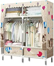 Portable Wardrobe Simple Wardrobe Closet with Drawers, Protable Clothes Cabinet Organizer Storage Rack with Hanging Clothi...