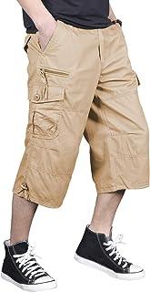 FEDTOSING Mens Casual Cargo Long Shorts Cotton Capri Pants Knee Length Shorts with Multi Pockets Elastic Waist