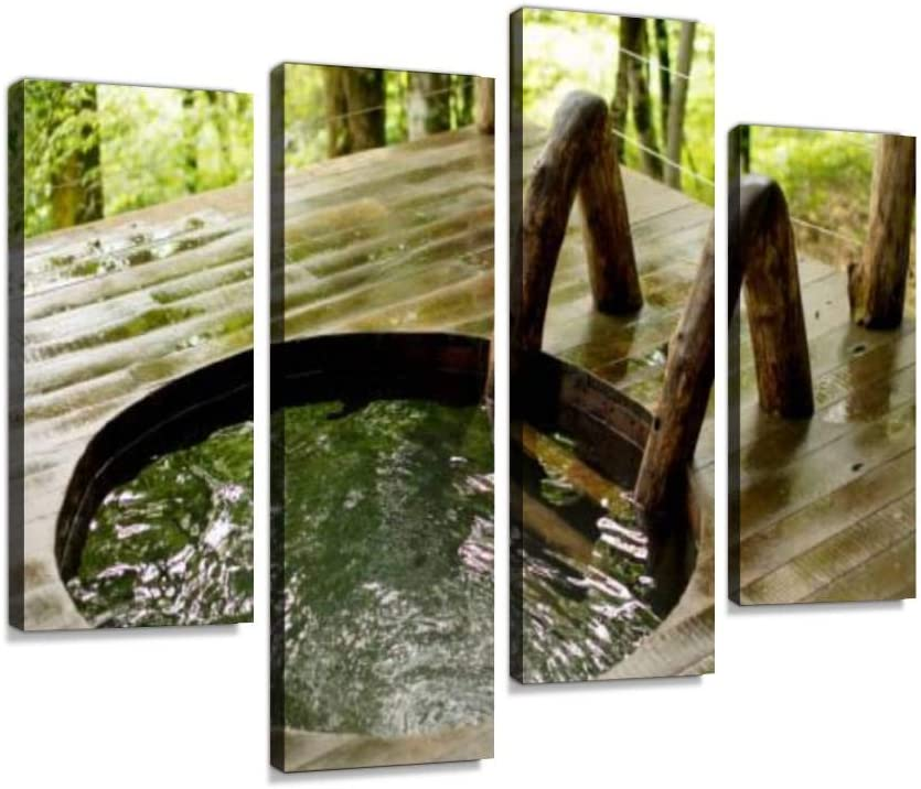 IGOONE 4 Panels Canvas Popular product Max 56% OFF Paintings - hot Close Wooden tub Outdoors