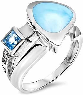 Marahlago - Curva Larimar Ring with Blue & White Topaz
