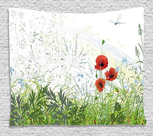 ABAKUHAUS Floral Tapiz de Pared, Amapolas Rojas libélula, para el Dormitorio Apto Lavadora y Secadora Estampado Digital, 200 x 150 cm, Verde Rojo