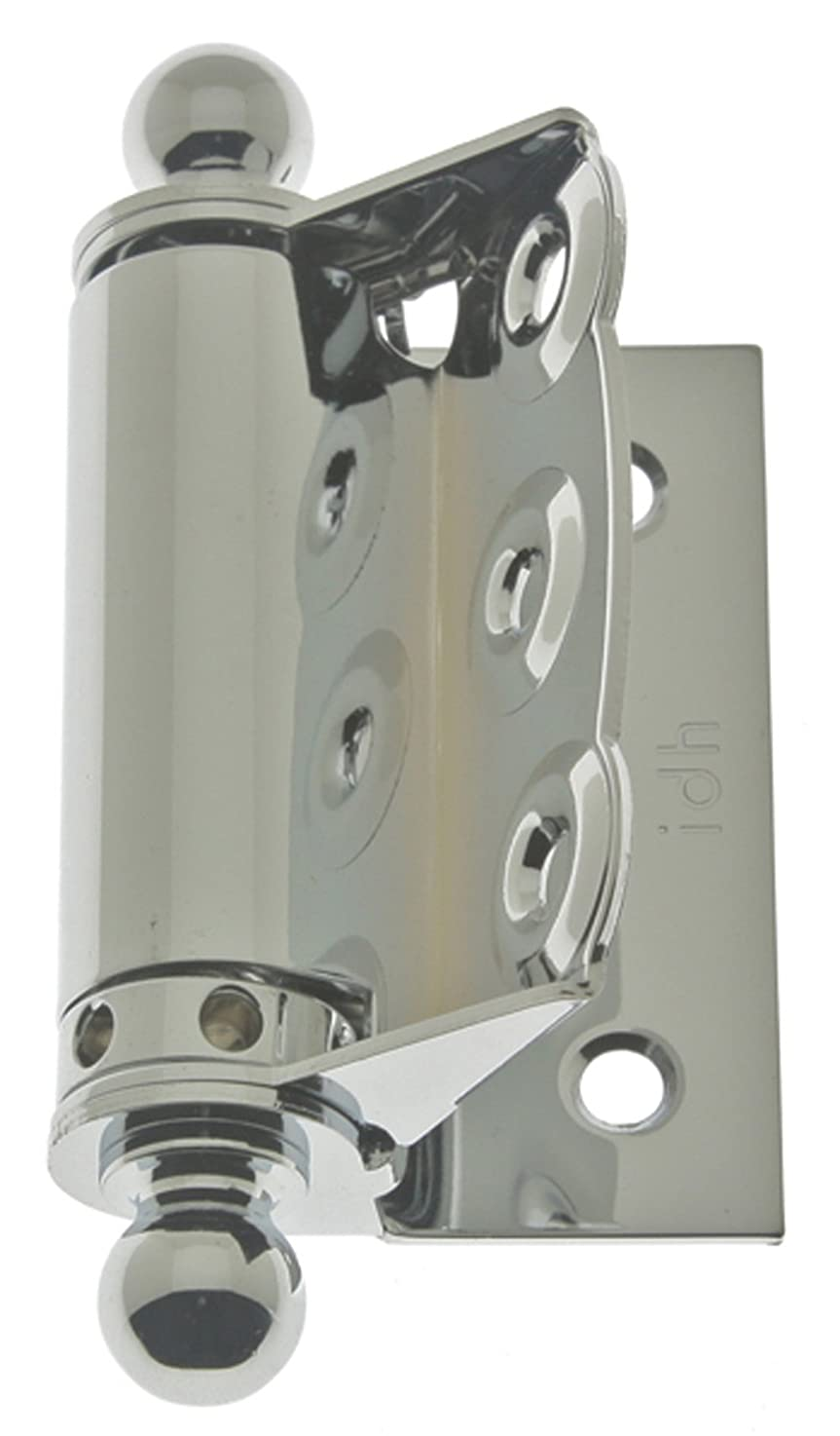 IDHBA 80320-026 Professional Grade Quality Solid Brass Half Surface Adjustable Spring Screen Door Hinges with Ball Finials (Pair), Polished Chrome