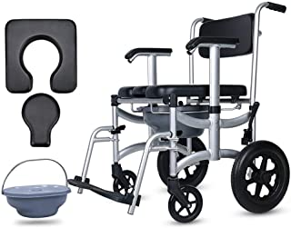 Deluxe Commode Chair with Footrests and Wheels, Deodorant Bedside Toilet Travel Wheelchair Waterproof Bath Chair, The Best Gift for Grandparents