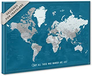 Framed World Map Wall Decor to Track Travel Destinations | Custom Push Pin Travel Map Framed With Personalized Quote | Various Frame and Size Options