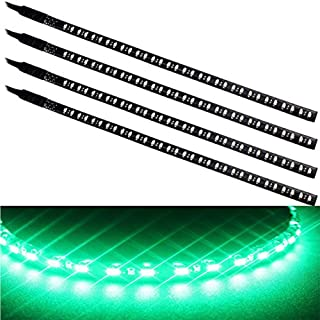 EverBright 4-Pack Green 30CM 1210 32-SMD DC 12V Knight Rider Flexible LED Strip Light for Car Motorcycles Decoration Interior Exterior Atmosphere Lamp Bulbs with Built-in 3M Tape