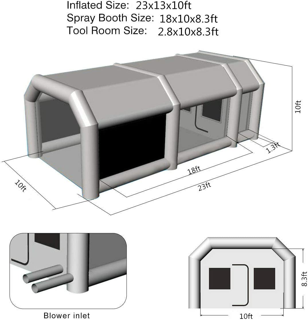 PeaceWin 23X13X10FT Inflatable Spray Paint Booth Tent with Upgrade High-Power Blowers