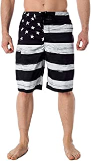 Quick Dry Pants American Flag Summer Swimwear Surf Beach Shorts with Pocket Drawstring