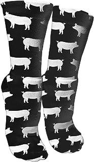 靴下 抗菌防臭 ソックス ちょうど豚-ブラックアスレチックスポーツソックス、旅行&フライトソックス、塗装アートファニーソックス30センチメートル長い靴下
