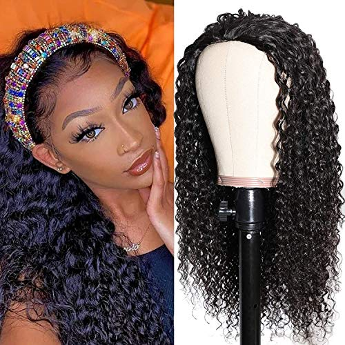 UNice Hair 10A Jerry Curly Human Hair Half Wig for Black Women Unprocessed Brazilian Virgin Hair Glueless Non Lace Front 3/4 Head Wigs Clip In Hair Extensions 26 inch