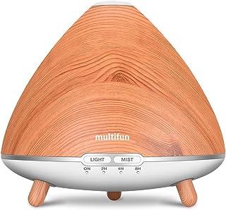 multifun アロマディフューザー 加湿器 超音波式加湿器 木目調 500ml容量 加湿器 乾燥対策 アロマ加湿器 空焚き防止 時間設定