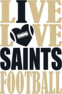 Live Love Saints Football Journal: A lined notebook for the New Orleans Saints fan, 6x9 inches, 200 pages. Live Love Football in gold and I Heart Saints in black. (Sports Fan Journals)