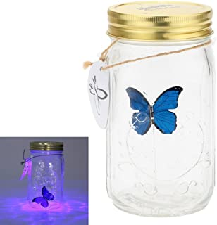 Herebuy8 Romantic Butterfly Collection- Animated Butterfly in a Jar with LED Lamp (Blue)