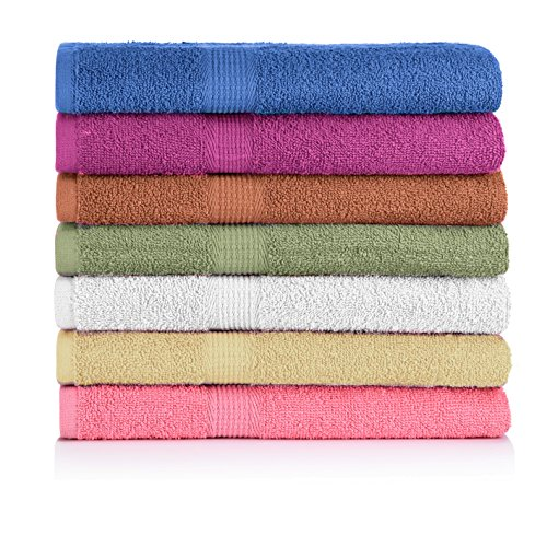 """CrystalTowels 7-Pack Bath Towels - Extra-Absorbent - 100% Cotton - 27"""" x 52"""""""