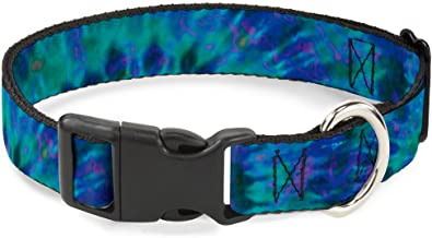Buckle-Down Plastic Clip Collar - Tie Dye Green/Blue/Purple - 1/2