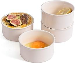 LYOU Ceramics Ramekins Set of 4 for Baking,8 Oz Souffle Cups, White Porcelain Ramekin, Baking Cups, Pudding Cups for Bakin...