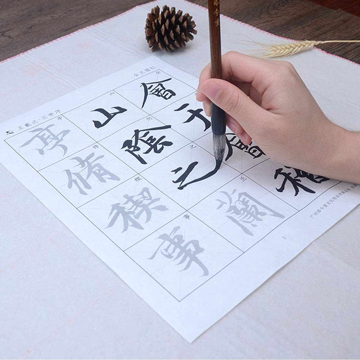 Tianjintang A4 Size Chinese Calligraphy Big Characters Tracing Writing Xuan Rice Paper Sheets for Beginners (Wang Xizhi王羲之-The Orchid Pavilion兰亭集序) ncc0551891