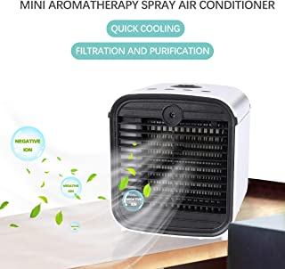 Aire Acondicionado Portátil, 4-in-1 Mini Refrigerador de Aire Purificador de Aire Humidificadores Difusor de Aroma con 7 luces LED 3 Velocidades Ventilador de Enfriador de Aire USB para el Hogar