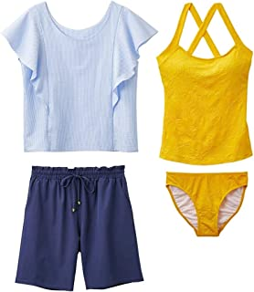 [nissen(ニッセン)] タンキニ フリル袖トップス付タンキニ水着4点セット