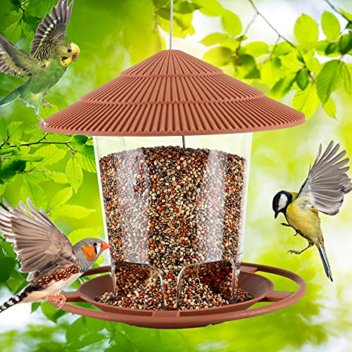Bird Feeders for Outside - Durable Hanging Wild Bird Feeder, Wide Mouth, Easy to Fill & Clean, Round Shaped with Roof, Perfect for Garden Yard Outdoor Decoration