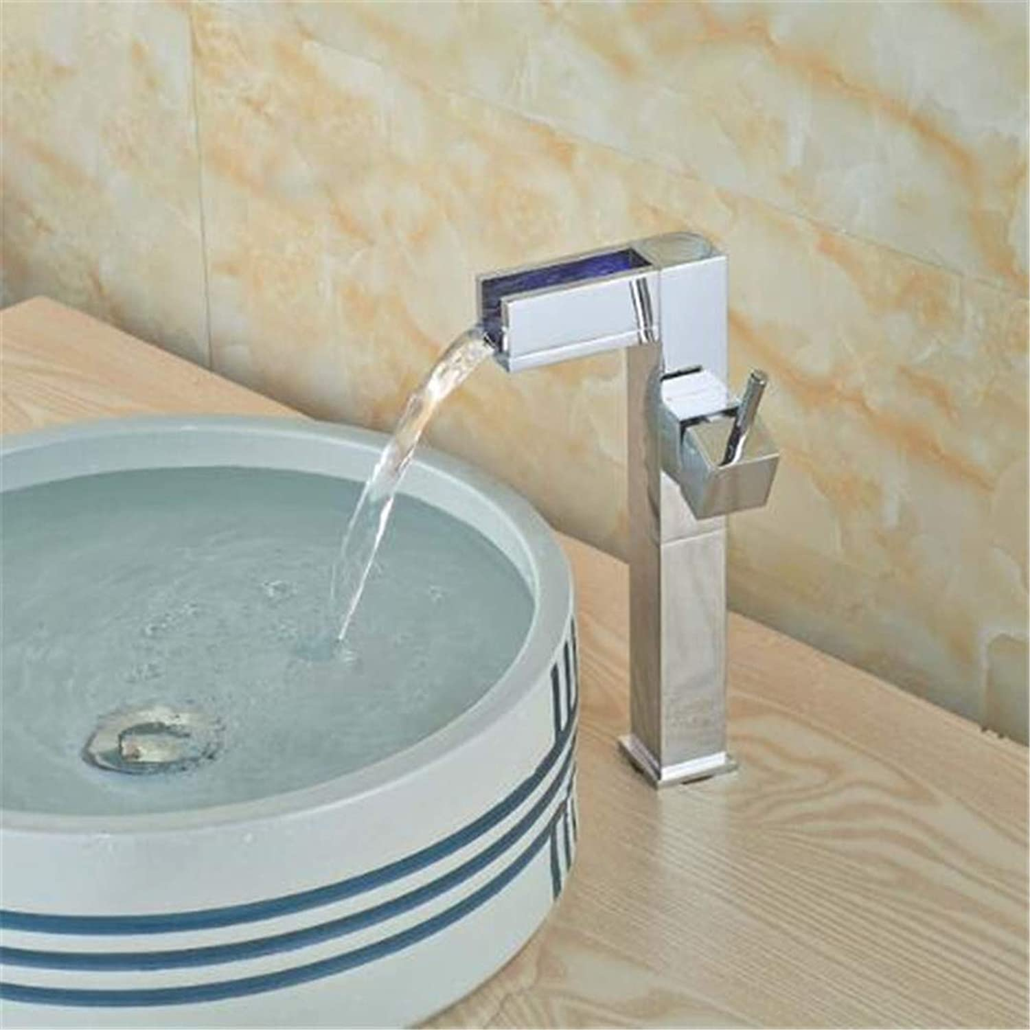 Bathroom Basin Faucet Kitchen Faucet Hot and Cold Taps Crossled Tall Style Chrome Brass Waterfall Bathroom Faucet Tall Vanity Sink Mixer Tap