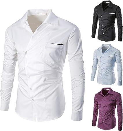Yvelands Camisa de otoño para Hombres, Camisa de Manga Larga con Cuello en Pico de los Hombres de Moda Casual Camisa de Manga Larga con Cuello en V ...