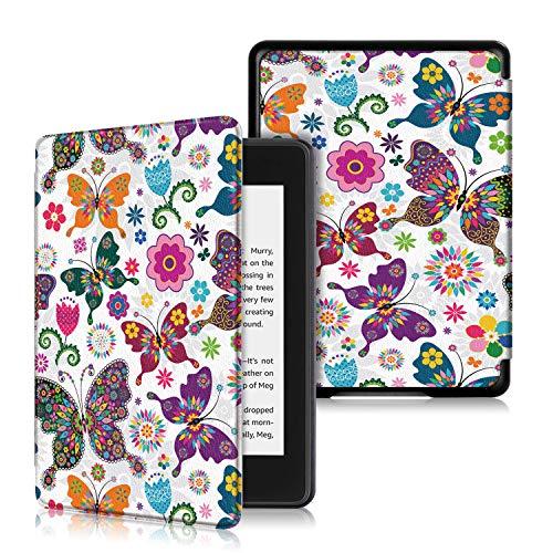 Pinhen - Funda para Kindle Paperwhite 2018 (Piel, función de Encendido y Apagado automático), Color Blanco