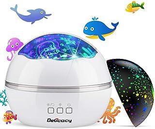 Delicacy 投影ランプ 寝しつけ用おもちゃ 海洋・スタープロジェクター 星空ライトプロジェクター ナイトライト ベッドサイドランプ インテリア USB/電池兼用 360°回転 8モード 多色変更可能 子供プレゼント 誕生日ギフト ホーム パーティー飾り