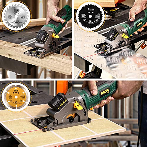 "Mini Circular Saw, TECCPO 4.8Amp Compact Circular Saw with Laser Guide, 3-3/8"" Mini Saw with 3 Saw Blades, Scale Ruler and Pure Copper Motor,Ideal for Wood, Soft Metal, Tile and Plastic Cuts - TAPS22P"