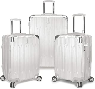 Traveler's Choice TC09035A Bell Weather Expandable 3 Piece Spinner Luggage Set44; White