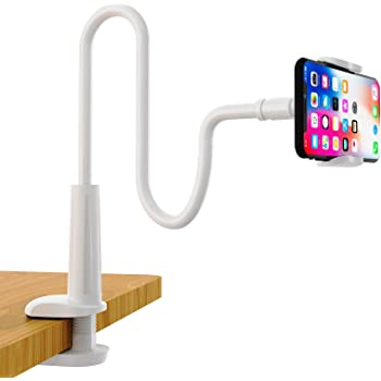 SHAWE Phone Holder Bed Gooseneck Mount - Flexible Arm 360 Mount Clip Adjustable Bracket Clamp Stand Compatible with Cell Phone 11 Pro XS Max XR X 8 7 6 Plus 5 4, Samsung S10 S9 S8 for Bedroom Desk