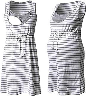 SSUPLYMY Maternity Dress Womens Fashion Cute Pregnant Dress Summer Sleeveless Maternity Clothing for Women Summer Funny Cute Pregnancy Sundress Dressing Gown Shirts Pajamas