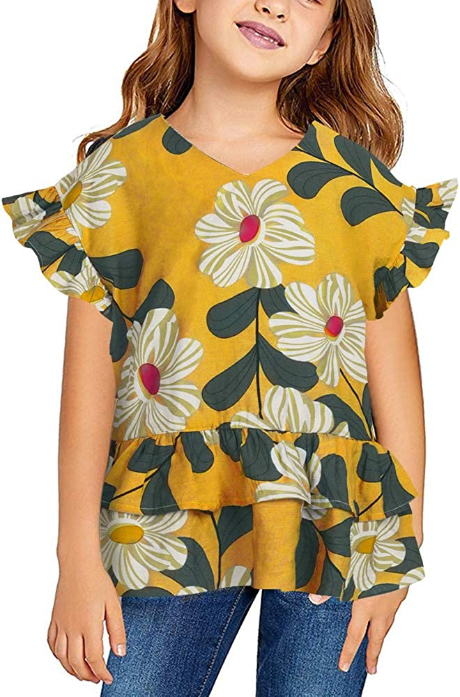 Caitefaso Girls Short Sleeve V Neck Free shipping New F 2021 autumn and winter new Casual Loose Cute T-Shirts