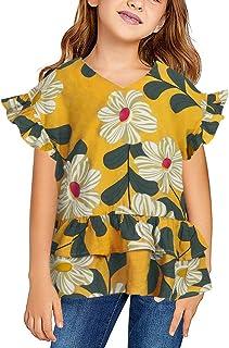 Girls Cute Shirts Summer Fall Ruffle Tunic Tops Short Sleeve High Low Slim Floral Blouses Tee 3-9 T