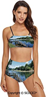 SCOCICI Bikini Swimsuit Swimwear Waterfall at Forest in Tropical Environment Un