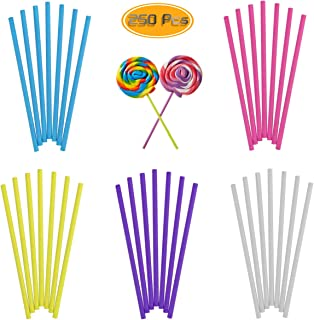 Oruuum 250PCS Rainbow Colorful Lollipop Sticks For Cake Pops Chocolate Apple Candy (6 Inch 5 Colors: Rose-red/Blue/Yellow/Purple/White)