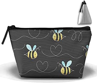 Trapezoid Portable Travel Toiletry Pouch Yellow Bumblebee Cosmetic Bags Multifunction Clutch Bag