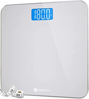 Etekcity Digital Body Weight Bathroom Scale with Body Tape Measure and Round Corner Design, Large Blue LCD Backlight Displ...