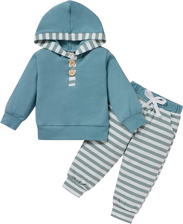 Infant Toddler Baby Girl Boy Long Sleeve Python Pattern/Striped Hoodie Sweatshirt Drawstring Pants Fall Winter Outfits Set