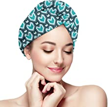 BATH LOVE Abstract Waterfall Design Shades of Blue Geometric Art Modern Pattern Head Wraps for Women Shower Cap Anti-Frizz Absorbent Twist Drying Shower Towel Hat