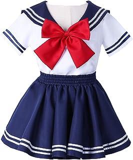 Anime Kids Girl`s Japan School Uniform Sailor Dress Halloween Cosplay Costume