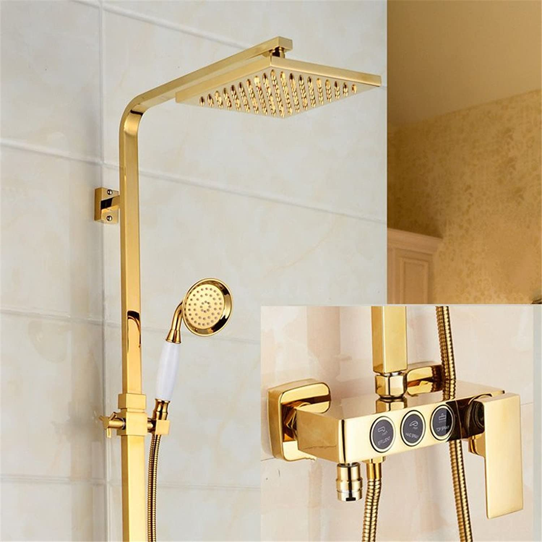 Bijjaladeva Wasserhahn Bad Wasserfall Mischbatterie WaschbeckenDie Badezimmer Sind Alle Kupfer VerGoldet,Kalt-und Warmwasser Mischventil Dusche Suite Luxurises Gold Handheld Dusc