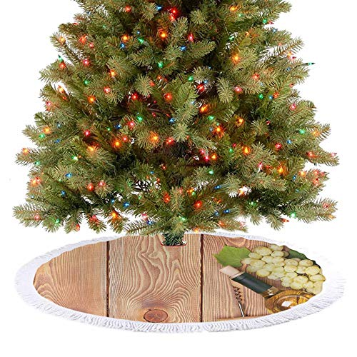 Adorise Tree Skirt Decor Wine Bottle and Bunch of Grapes on Wooden Table Background Romantic Italian Dinner Xmas Holiday Decoration A Contemporary Look and Appeal - 36 Inch