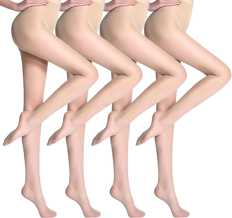 HaloYIYI Women's 2/4 Pack 15D Sheer Pantyhose High Waist Tights Thigh Control Top Ultra Thin Stockings
