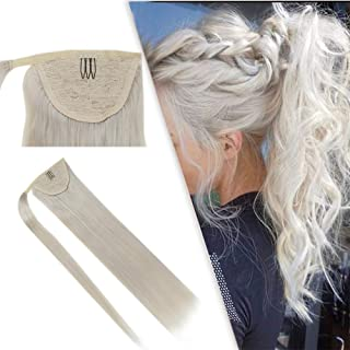 RUNATURE Ponytail Extension Silky Straight Clip Human Hair Wrap Around Ponytail 22 Inches 100g Per Piece White Blonde 100% Remy Human Hair Extensions Ponytail Hair Piece for Women