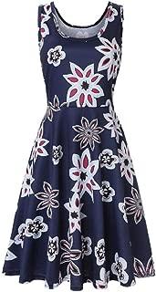 FSSE Women's Summer Sleeveless Sundress Print Loose Fit Swing Flare Mini Dress