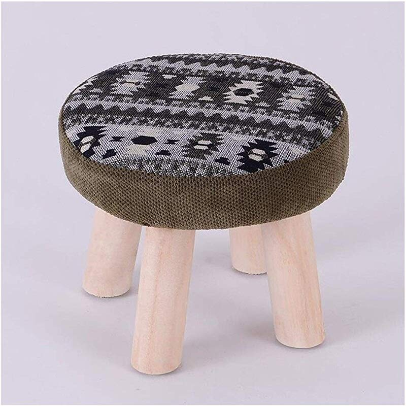 Carl Artbay Wooden Footstool Gray Green Stripes Home Solid Wood Stool Fashion Change Shoes Stool Home
