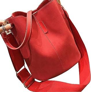SweetWU Crossbody Tasche für Frauen Vintage Eimer Tote PU Leder Schultertasche Handtaschen mit Verstellbarem Gurt Retro Me...