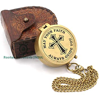 Roorkee Instruments India Engraved Compass, Confirmation Gift Ideas, Baptism Gifts