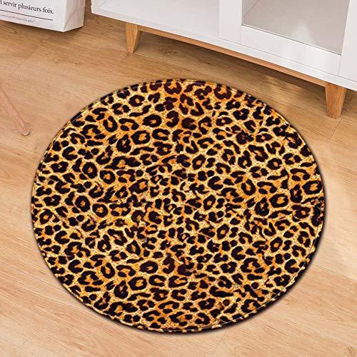 Xiaojie Alfombra de piso circular con impresión creativa moderna para puerta, alfombra de 20 x 20 x 10 cm, leopardo, 120 cm